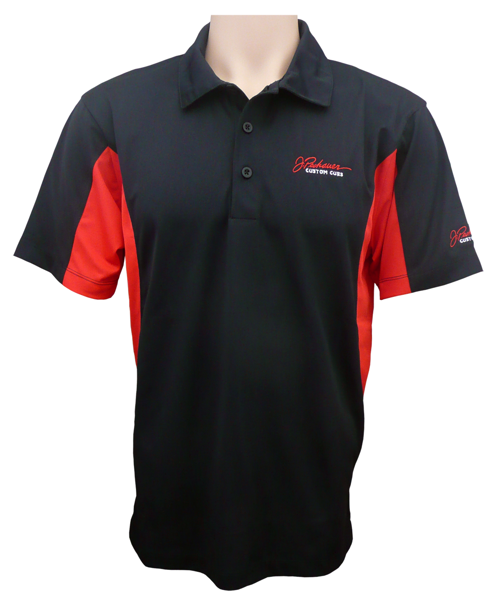 Red Black Sportek Polo Shirt Pechauer Custom Cues Wholesale & supply store performance fabric for performing people. red black sportek polo shirt